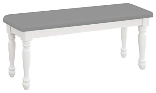 (The Furniture Cove Farmhouse Style Traditional Wood Dining Bench with White Legs Featuring Your Choice of a Colored Vinyl Covered Padded Seat Cushion (Gray Vinyl))