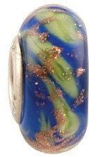 Fenton Art Glass Blue Mint Bead Retired - Handmade Lampwork Glass USA