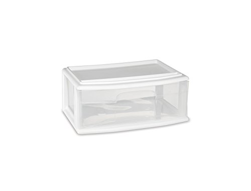 (HOMZ Plastic Underbed Wide Storage Drawer, Stackable, White Frame, Clear Drawers, Pack of 3)