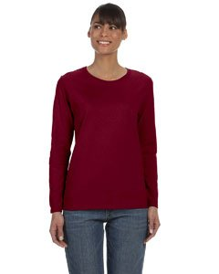 Misses heavy cotton long sleeve t-shirt. (Garnet) (2X-Large) ()