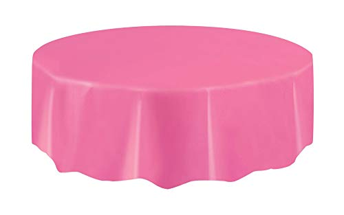 Hot Pink Table Plastic - Unique Hot Pink Plastic Party Table Cover Round, 84