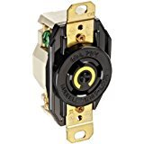 Hubbell Wiring Systems HBL2310 Nylon Face Twist-Lock Receptacle, 20 Ampere, 125V, 2-Pole, 3-Wire Grounding, Black