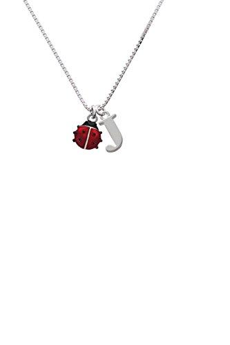 Mini Red Translucent Ladybug - Capital -J- Initial (Ladybug Personalized Mini)