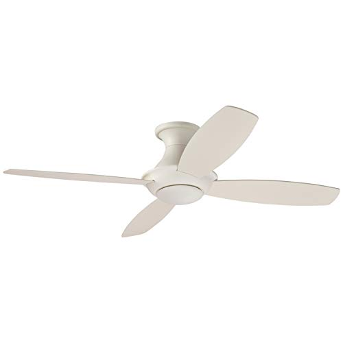 - Stone & Beam Modern Remote Control Flush Mount Ceiling Fan With Integrated LED Light - 52 x 52 x 11.54 Inches, White