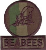Embroidered O.D. Seabee Patch for BDU's