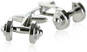 Silver Dumbbell Cufflinks Weights Gym Fitness Weekend Warrior Cuff Links