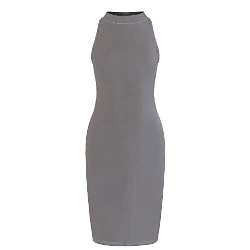 - TIANMI Women's Slim Strapless Backless Knee Dress Turtleneck Skinny Dress Midi Dress Grey