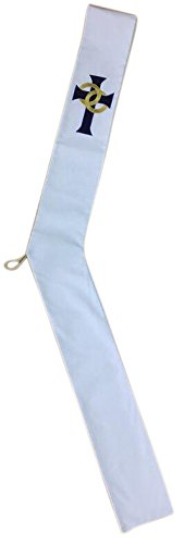 - White Wedding Deacon Clergy Stole in Gold Embroidery with Blue Velvet Cross