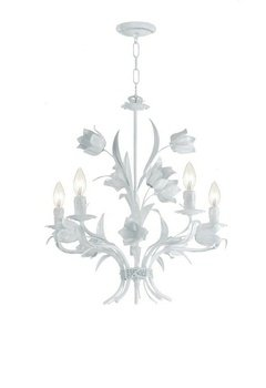 Crystorama 4815-WW Leaf, Flower, Fruit Five Light Chandelier from Southport collection in Whitefinish,
