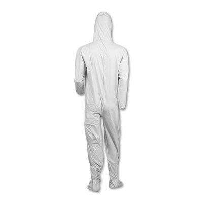 Kimberly-Clark 44336 KleenGuard A40 Coveralls with Hood/Boots, White, 3XL (Pack of 25)