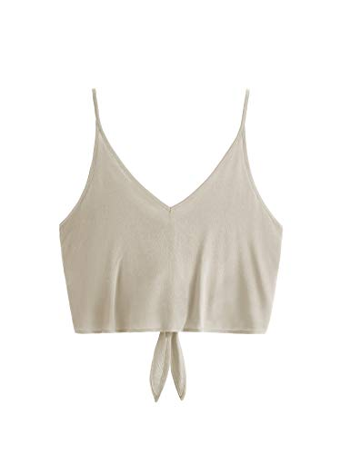 d90eb3b8fe983 MAKEMECHIC Women s Casual V Neck Button Seft Tie Front Crop Cami Tops  Camisole Khaki M