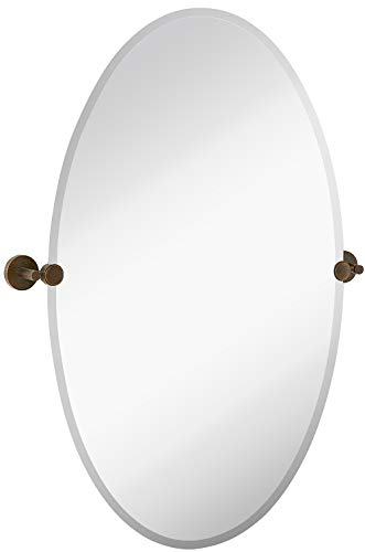 Hamilton Hills Large Pivot Oval Mirror with Oil Rubbed Bronze Wall Anchors -