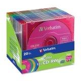 Verbatim 12X 80MIN 5-Color CD-RW in Slim Cases