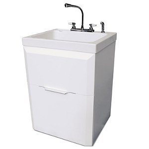 Quality Craft Laundry Cabinet And Sink With 14.5u0026quot; Extra Deep Acrylic  Wash Sink With Built