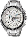 Casio Stainless Steel Edifice White Dial Alarm Chronograph Tachymeter by Casio