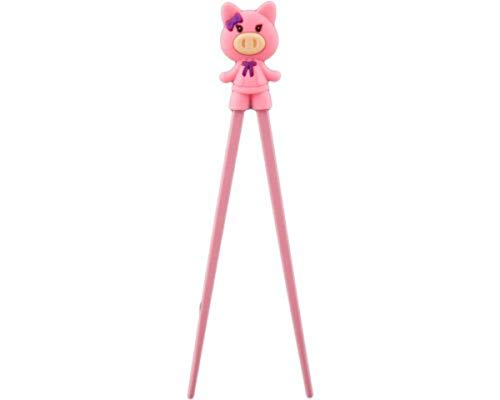 Authentic Japanese Pink Pig Training Cheater Chopsticks for Kids and Beginners, 7 Inch