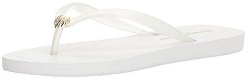 Tommy Bahama Women's Whykiki Flat Solid Flip-Flop, White, 5 M US