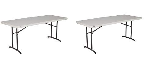 Lifetime 80382 Commercial Fold-in-Half Table, 6-Foot, Almond (2-(Pack)) - Pack Lifetime 6' Almond