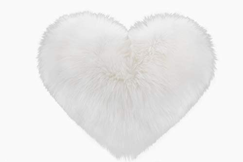 Rally Goods White Oversize Fluffy Heart Shape Throw Pillow (16 x 20 inch) with Insert, Ultra Plush Single-Sided Faux Fur Sheepskin, Adding Accents to Home, Couch, Bedroom, Living Room, Nursery -