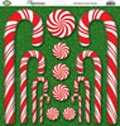 Reminisce 12 Inch by 12 Inch Candy Cane Christmas Glitter Sticker Sheet, Candy Canes and Candy (Christmas Reminisce Glitter)