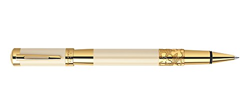 Ivory Refill Pen (Waterman Elegance Ivory with Gold Trim With 2 Free Rollerball Refills Rollerball Pen - S0891370)