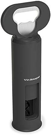 VIN BOUQUET FID 680 680-Abridor 3 en 1 en Color Negro. Abrelatas, Descapsulador, Sacacorchos, Plástico