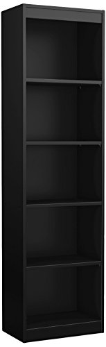 South Shore Axess Collection 5-Shelf Narrow Bookcase, Pure Black