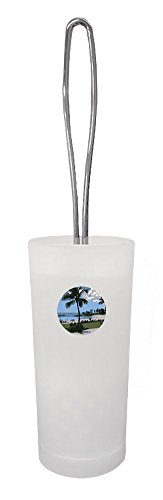 The Furniture Cove White Frosted Toilet Brush and Holder Featuring Your Favorite Novelty Theme Decal (Hawaii Cartoon) by The Furniture Cove