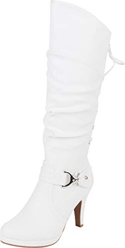 Platform Knee Boots White High (Cambridge Select Women's Back Corset Lace Platform High Heel Knee-High Boot,9 B(M) US,White PU)