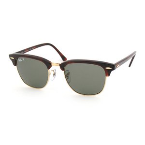 Ray-Ban Men's Clubmaster Polarized Square Sunglasses, Red Havana, 50 - Ray Ban Wood