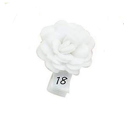 Actuallyhome 12pcs/lot Kids Small Mini Non-Woven Cloth Flower Hair Clips with Ribbon Wrap Hairclips Hairpins Girls (18 White,-) -
