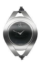 Calvin Klein Quartz, Black Thin Leather Strap with Oval Black Dial - Women's Watch K1B33102