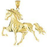 CleverEve 14K Yellow Gold Running Horse Pendant 11.4 Grams