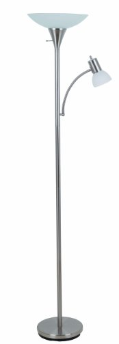 Catalina Lighting 17539-000 Contemporary Torchiere Floor Lamp with Adjustable Reading Light and Frosted Glass Shade, 71, Brush Steel