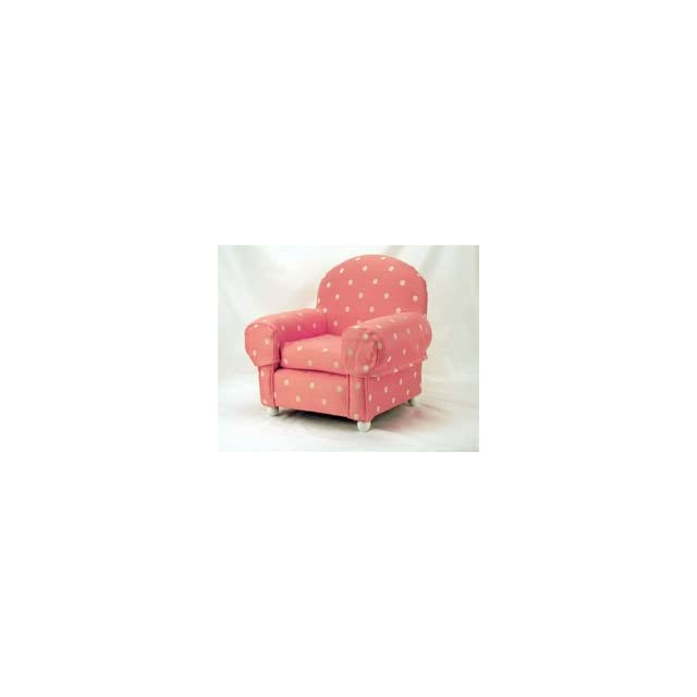 Wooden Framed Pet Dog Chair with Pink and White Polka Dots (Small)