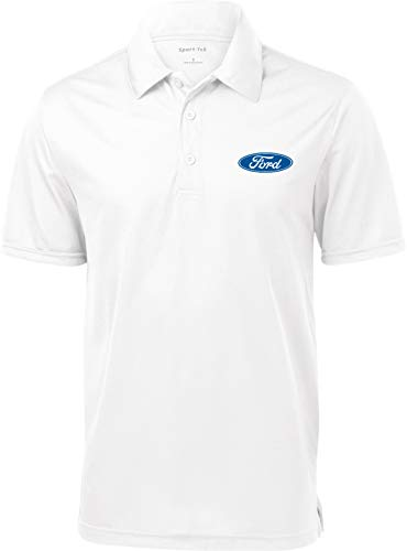 Ford Oval Pocket Print Textured Polo, White Large