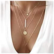 Dainty Coin Pendant 14K Gold Layered Necklace Whit Star Long Chain Multilayer Necklace Set Jewelry for Women Lady Girls...