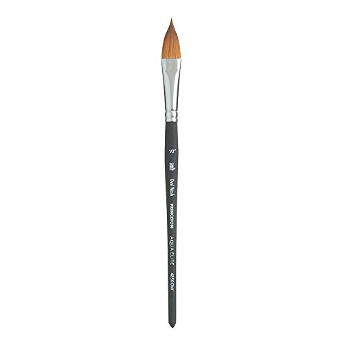 Princeton Aqua Elite NextGen Artist Brush, Series 4850 Synthetic Kolinsky Sable for Watercolor, Oval Wash, Size 1/2