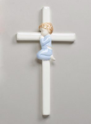 Hand Painted Glazed White Porcelain Praying Boy Cross (Porcelain Cross)