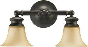 Quorum Lighting 5474-2-95, Madison Glass Wall Sconce Lighting, 2LT, 150 Watts, Old World