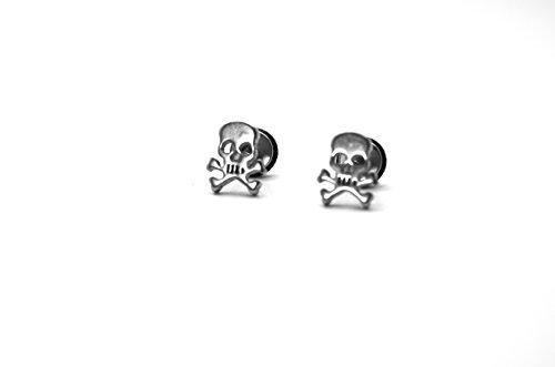 Millardo Jewelry Basic Collections Skull & Cross Bones shaped Stud screw-back Earrings (Stainless - Cross Bone