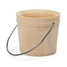100 Pcs, Wooden Bucket W/ Handle 2-1/16'' Wide X 1-7/8'' Tall