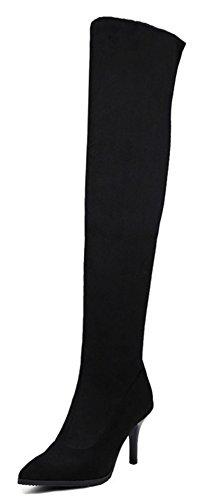 Aisun Womens Sexy Stretchy Dressy Puntige Teen Pull Op Slanke Stiletto Kitten Hak Over De Knie Hoge Laarzen Schoenen Zwart