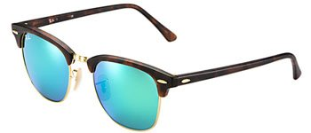 - New Ray Ban Clubmaster Flash RB3016 114519 Tortoise/Grey Mirror Green 51mm Sunglasses
