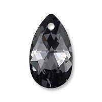(Swarovski Pear Shape Pendant 6106 16mm Crystal Silver Night (Package of 1))