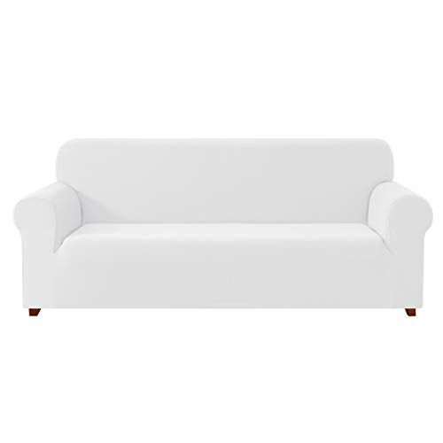 DyFun 1-Piece Knit Spandex Stretch Dining Room Sofa Slipcovers (Loveseat, White)