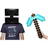 (Minecraft Enderman Head & Diamond Pickaxe Costume)