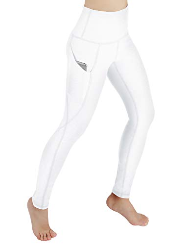 ODODOS High Waist Out Pocket Yoga Pants Tummy Control Workout Running 4 Way Stretch Yoga Leggings,White,Small