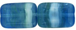 Czech Polished Rectangle Table Cut Beads 12/8mm HurriCane Glass - Icy Plunge (10)