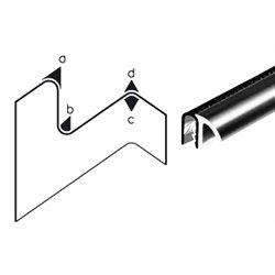 Edge trim PVC/EPDM application range 1,0 - 4,0 mm total height 16mm total width 20.5mm